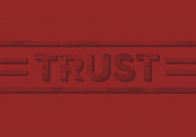 """Word """"Trust"""" in Red"""